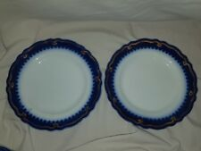 "Pair The Marquis ENGLAND 1906 China Flow Blue Iron Stone 9"" Plate Antique Set 2"