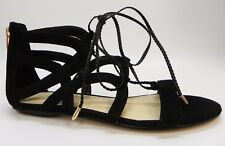 Marc Fisher Kapre Open Toe Lace Up Ankle Tie Gladiator Sandals Black Suede 8.5