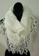 White Knit Fringe w/Metallic Infinity Tubular Scarf #1018...NEW IN PACKAGE