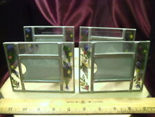 """4 Weston Gallery 4"""" x 5"""" """"Glass & wire Pine Green leaf Accents"""" picture frame-FS"""