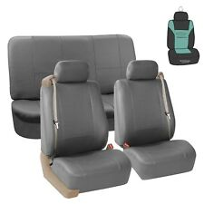 Seat Covers PU Leather Set For Built In Seatbelt Auto Car Sedan SUV Gray w/ Gift