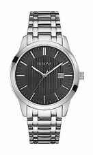 Bulova Men's 96B223 Black Dial Stainless Steel Date Watch