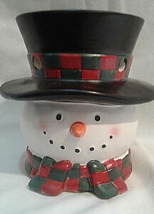 YANKEE CANDLE SNOWMAN WITH RED & GREEN SCARF TEA LIGHT VOTIVE CANDLE WAX HOLDER