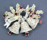 Vintage DODDS Christmas Brooch Pin Bell White Enamel Red Rhinestones Gold Tone