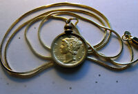 """Pre 1945 Gold Plated Mercury Dime Pendant on a 18K 24"""" Gold Filled Snake Chain"""