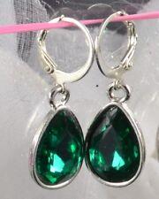 Silver tone Tear drop Dark green acrylic crystal Sleeper Hoop Huggie Earring.