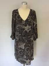 MONSOON BLACK & WHITE PRINT 3/4 SLEEVE SHIFT DRESS SIZE 10