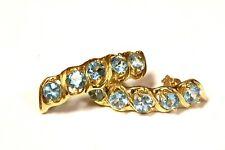 14k yellow gold blue topaz half hoop gemstone earrings 4.2g estate womens bar
