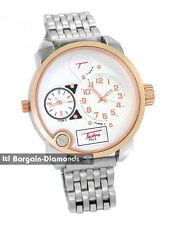 mens big 2 time zone rose gold steel tone hip hop clubbing watch bracelet
