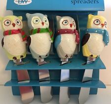 4 SNOWY WINTER OWLS CHEESE SPREADER KNIVES CHRISTMAS SCARF BLUE RED GREEN