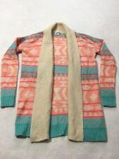 Roxy S Small Tan Coral Pink Aqua Aztec Stripe Cardigan Sweater Open Front Soft