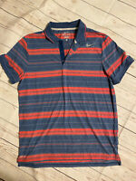 Mens Medium Nike Striped Dri Fit Short Sleeve Tennis Golf Polo Shirt XL
