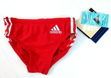 Adidas Performance Boys Kids Red Swimming Swim Briefs Trunks 1 size smaller []