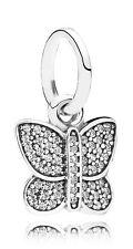 Authentic Pandora Silver Sparkling Butterfly CZ Pendant Charm 791497CZ