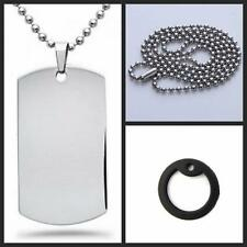 Mens Necklace Dog Tag Pendant Steel Stainless Military Army