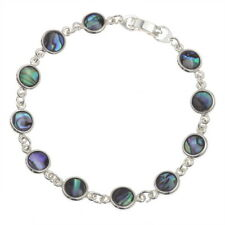 Blue Green Abalone /  Paua Shell Round Circle Links Silver Bracelet