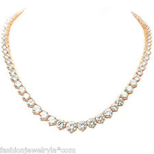 12 CARAT ROUND CUT CZ CUBIC ZIRCONIA ROSE GOLD TENNIS NECKLACE