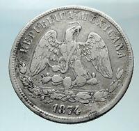 1874Go MEXICO Silver 50 Centavos Antique Mexican Coin Eagle Liberty Sword i82451