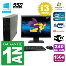 "PC LENOVO M82 SFF Screen 27 "" i3-3220 RAM 16Go SSD 240Go DVD Burner Wifi W7"