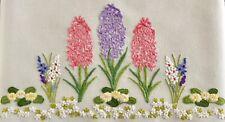 More details for vintage hand embroidered linen tablecloth hyacinths primroses spring flowers
