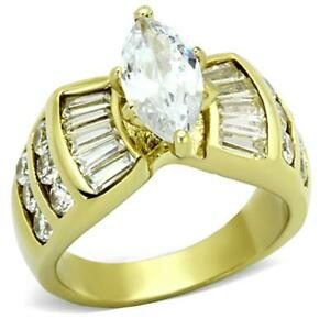 RING Gold(Ion Plating) Stainless Steel Ring with AAA Grade CZ in Clear SIZE 8