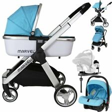 Marvel 3in1 Pram - Surf Blue ( Car Seat Carrycot Isofix Base) Delivery