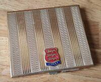 Brass vintage Art Deco antique Jersey crested cigarette case box