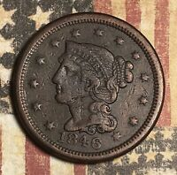 1846 BRAIDED HAIR COPPER LARGE CENT COLLECTOR COIN. FREE SHIPPING