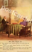 Vintage Bamforth Song Postcard, My Ain Folk (3), Soldier and Parents, Scottish