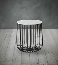 Contemporary style metal cage side table with a marble table top industrial