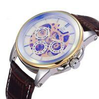 Retro Automatic Mechanical Men Wrist Watch Skeleton Fashion Leather Steampunk
