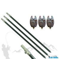 3 x elektronischer Bissanzeiger + 3 x Aluminium Bankstick 75 - 120cm Rutenhalter