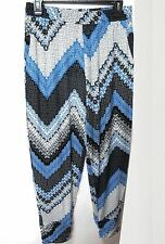 Womens Casual Blue & Multicolor Graph Print Tapered Leg Harem Pants Plus Sz 3X