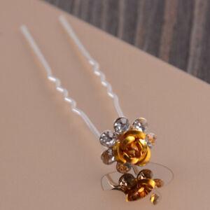 1/5 X Bridal Wedding Crystal Rhinestone Rose Flower Hairpin Barrette Hair Sticks