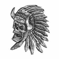 Pin's Biker épinglette Indien tête de Mort Gilet blouson  Indian skull