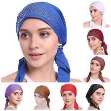 12PCS Muslim Islamic Women Inner Caps Rhinestone Hats Hijab Headwear Shawls