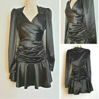 Vintage 80's Black Satin Long Sleeve Ruched Sexy Short Mini Party Dress size 8