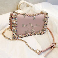 Fashion Women Single Shoulder Bag Lace Flower Chain Crossbody Leather Bag