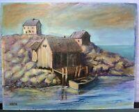 Harbor Landscape Oil Painting Signed Horton