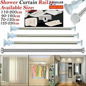 Telescopic Extendable Shower Windows Curtain Bath Door Pole Rod Rail Wire Hooks
