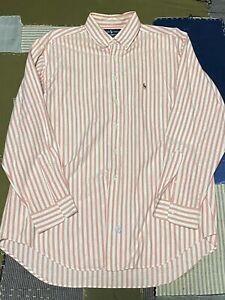 VTG Polo Ralph Lauren Shirt Mens 17-35 Yarmouth Oxford Pink White Vertical Strip