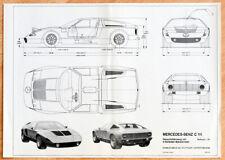 """org, Mercedes Plakat Poster """"Mercedes-Benz C 111"""" Technische Zeichnung 1970"""
