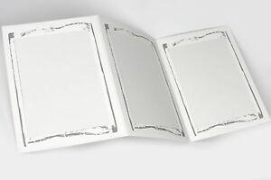 10 St. Leporello Fotomaß 13 x 18 cm weiß & silberner Ornamentrand Portraitmappe