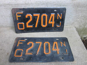 "New Jersey  Mid Century License Plate ' FO 2704 NJ""  ~ 2 Plates"