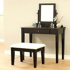 Vanity Mirror Table Set Make Up Wood Chair Desk Espresso Finish