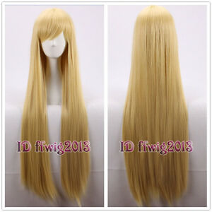100cm long straight heat resistant blonde Tangled Rapunzel Cosplay Wig+a wig cap