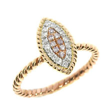 Real 0.24ct Natural Fancy Pink Diamonds Engagement Ring 18K Solid Gold 6G Band