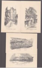 Sussex HASTINGS x4 c1930/40s? pencil drawn artist FJ (FRED JUDGE?) Judges PPCs