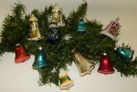 Lot of 11 Vintage Glass Assorted Bell Shaped Christmas Ornaments