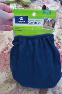 NEW, TOP PAW WASHABLE MALE WRAP COVER-UP, BLUE  TRIM SZ LG (45-90 POUNDS)